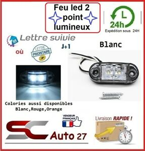 Feu de jour LED véhicule/remorque alimentation 9 v à 30 v 2 point lumineux BLANC