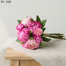 Silk Peonies Bouquet Roses Artificial Pink Bridal Wedding Home Floral Decoration