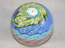 Mid-century Fratelli Toso Murano Rainbow Swirl Glass Paperweight