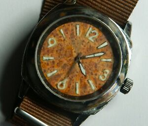 Custom/Tropical Qtz:43mm:Chrome over copper case:Swiss Hi-Lume:New NATO:Vintaged