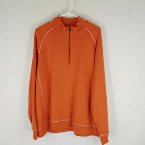 LL Bean mens knit top 3/4 zip orange tradtional fit long sleeve size large R
