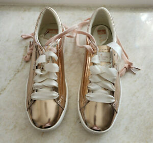 Genuine New Kate Spade Rose Gold Patent Leather with White Ribbon Tie Sneakers