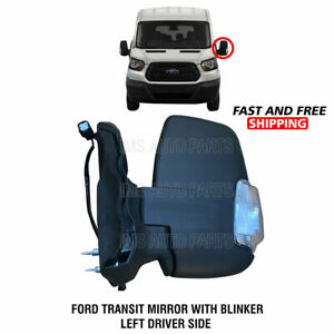 Ford Transit 150 250 350 Manual Heated Mirror W Indicator Left Driver 2015-2019