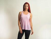 New Womens Ladies Light Pink Flowy Racerback Tank Top Tops Sleeveless S M L XL