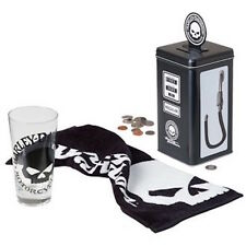 HARLEY DAVIDSON Willie G Skull Tall Glass Set Gas Pump Tin Bank NEW L@@K