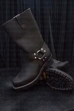 """Wesco Harness 11"""" Black Leather Boots"""