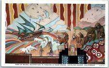 "Catalina Island, CA Postcard ""Part of Mural in Theatre of NEW CASINO"" c1930s"