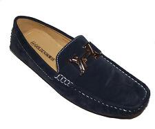 F062 New Navy blue H gold logo LOAFER SLIP ON MOCCASIN faux Leather Suede Men 8