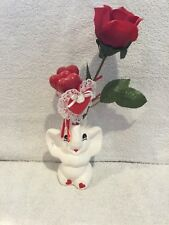 Vintage White Ceramic Elephant Holding Rose and Hearts in Trunk Ornament
