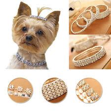 Mini Pet Dog Necklace Bling Rhinestone Chocker Collars Chihuahua Fancy Supplies