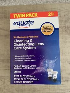 Equate 3% Hydrogen Peroxide Cleaning & Disinfecting Lens Twin Pack 12oz Exp 2023