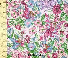 1YD Angels Flower HIDDEN GARDEN FAIRY Fairies PINK Rose Nursery Baby Quilt Sew