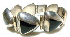 MEXICO STERLING SILVER ONYX CHUNKY OLD VINTAGE TRIANGLE WOMENS BRACELET MEXICAN