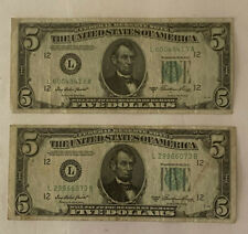 1950 A Series $5 Federal Reserve Note ~ Green Seal ~ (Lot of 2)