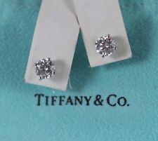 18k Tiffany Co Platinum 1 47ct Round White Diamond Basket Set Stud Earrings