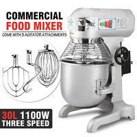 Three Speed 30Qt Commercial Dough Food Mixer Gear Driven Pizza Bakery 1.5HP Top