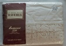 """One King Flat Bed Sheet """"Country Lace"""" Ivory Fieldcrest-At Home With Waverly Nip"""