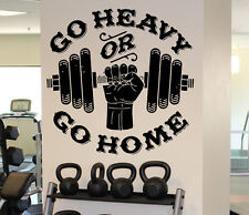 Gym Motivation Wall Decal Go Heavy or Go Home Vinyl Sticker Wall Art Decor 21fmf