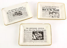 1957 Milwaukee Braves Champions Lot of 3 Milwaukee Journal/Sentinel Candy Dishes