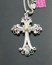 A689#S    Betsey Johnson Silvery Bling Crystal AB Cross Pendant Necklaces