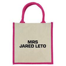 Mrs Jared Leto Pink Handled Midi Jute Bag shopping eco tote 30STM rockstar fans