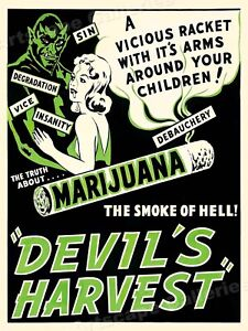 "1942 ""Devil's Harvest"" Vintage Marijuana Movie Poster - 18x24"