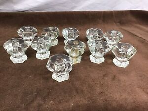 Set Of 11 Antique Glass Drawer / Cabinet Pulls / Knobs Matching Set (1a)
