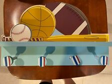 Children's shelf with 4 pegs, sports theme, blue, pegs 4 inches apart