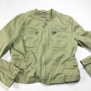 Gap Military Jacket Womens size Large Green Zip Front Pockets