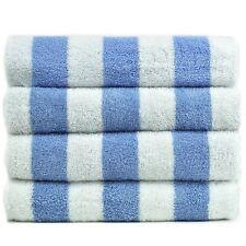 "4 NEW LUXURY WHITE/ BLUE COTTON HOTEL 60"" x 30"" CABANA TOWELS POOL TOWEL BEACH"