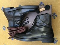 Gucci Mens Shoes Black Leather Military Ankle Boots UK 10 US 11 EU 44 325856