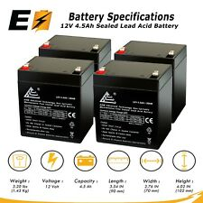 4 Pack 12V 5Ah, 4.5Ah, 4Ah Replacement SLA Battery for APC UPS and more