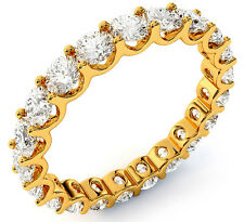 "2.21 ct Round Diamond Eternity Ring 18k Yellow Gold Band 22 x .10 ""U""shape VSSI1"
