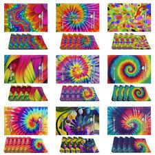 Tie Dye Design Placemats Non-Slip Kitchen Dinging Table Mats Set of 4 or 6 pcs