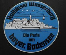 Souvenir-Aufkleber Halbinsel Wasserburg Perle am bayerischen Bodensee 80er