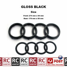 GLOSS BLACK BADGE COMBO GRILLE & REAR AUDI RINGS FOR AUDI A3 A4 A5 A6 A8 b4-2013