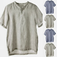 Vintage Mens V Neck T Shirts Henley Shirts Cotton T Shirt Leisure Striped Blouse