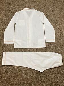 LORETTA  CAPONI 2 PIECE COTTON WHITE W/ ORANGE CONSTRAST PIPING SZ 14