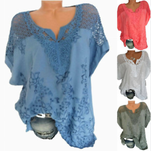 Plus size Hollow cosy Womens Blouse Casual Short Sleeve T-Shirt Ladies Tops