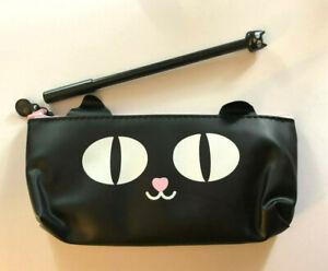 "Makeup Bag Purse Cat Kitty Black Kawaii Anime Goth Loli + Pen 7.5 x 3.5"" 1672"