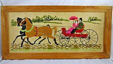 Vintage Needlepoint Yarn Horse & Carriage Picture In Unfinished Oblong Oak Frame