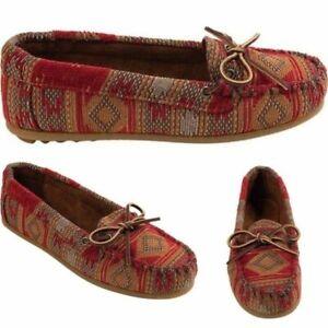 MINNETONKA Women's Baja Red Aztec Tribal Print Moccasins Size 5 Bow Leather