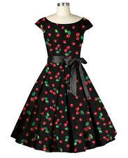 50s Rockabilly Cherry Tea Dress ~ Retro Swing Pinup Plus Size 1950s Bombshell