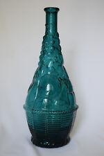 """Vintage Art Glass 14"""" Teal Fruit Motif Genie Bottle Decanter Missing Stopper"""