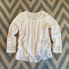 S New ANTHROPOLOGIE Women's Boho White Lace Crochet Peasant Blouse Top SMALL