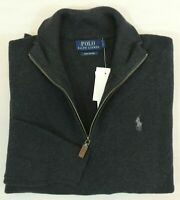 Polo Ralph Lauren Half 1/2 Zip Leather Pima Cotton Pony Mockneck Sweater Big Tal
