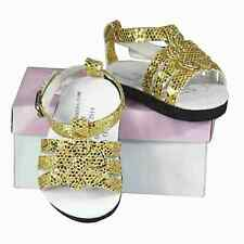 """18 """" Inch Doll Gold Strappy Sandal Shoes Fits American Girl Clothes Accessories"""