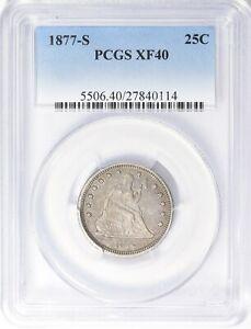 1877-S Seated Liberty Quarter PCGS XF-40