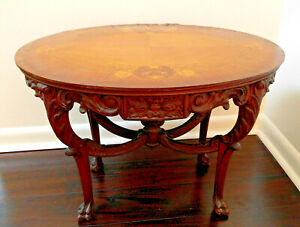 Antique Carved Wood Oval Coffee Table Marquetry Art Claw Foot French Style