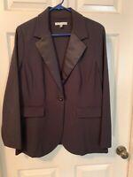 CAbi #701 SizeXL Tuxedo Blazer Jacket Single Button Black Ponte Knit Satin Lapel